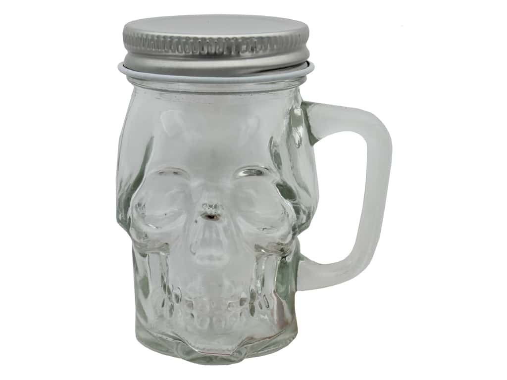 Sierra Pacific Crafts Glass Jar Skull 3 in. x 3 in. Silver/Clear