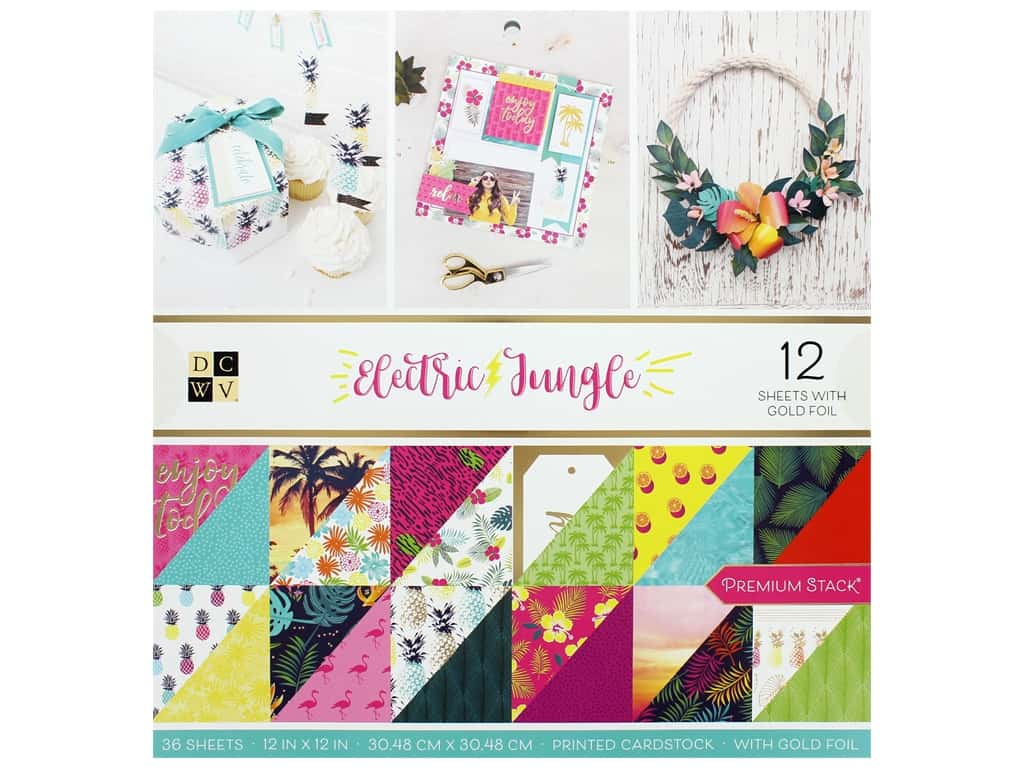 Die Cuts with a View 12 x 12 in. Paper Stack Electric Jungle