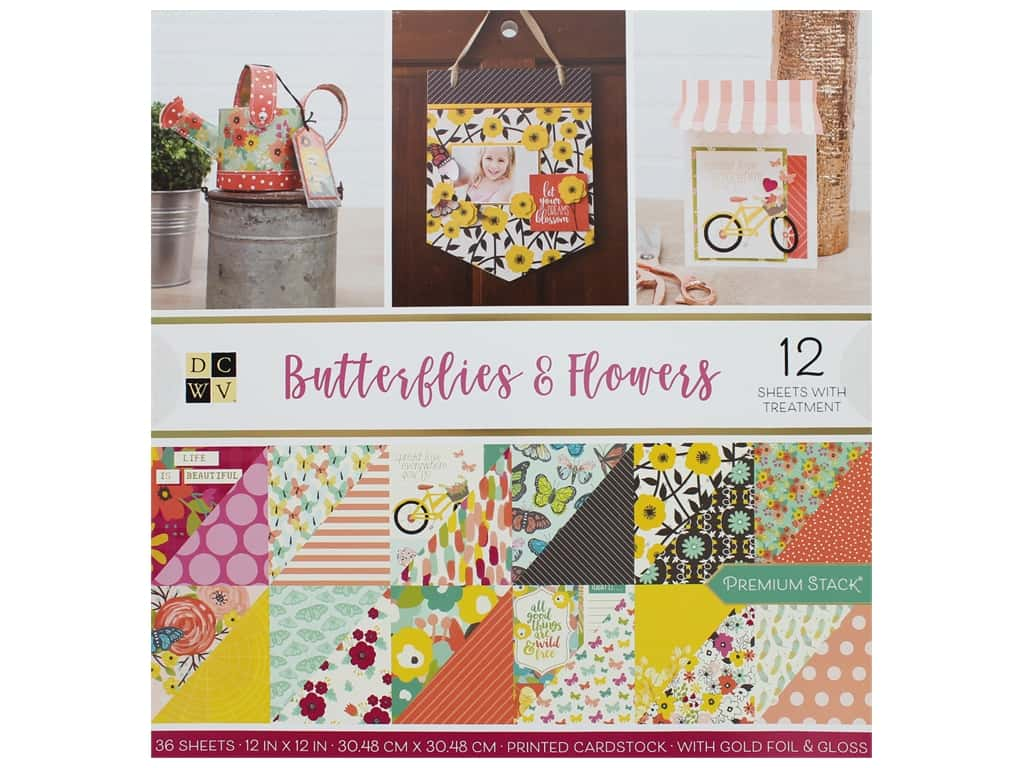Die Cuts with a View 12 x 12 in. Paper Stack Butterflies & Flowers