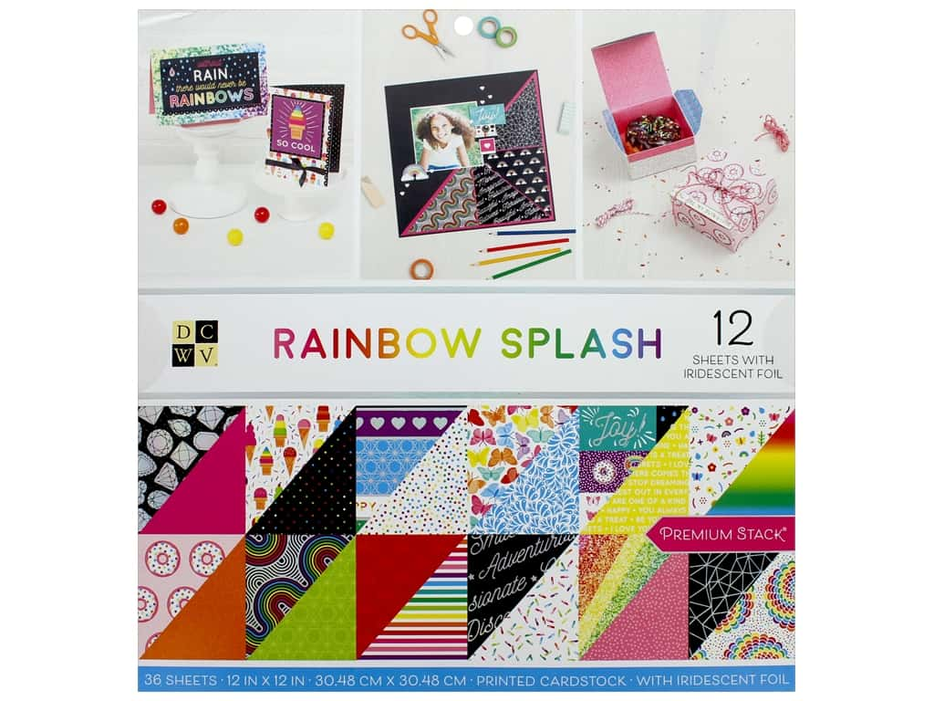 Die Cuts with a View 12 x 12 in. Paper Stack Rainbow Splash