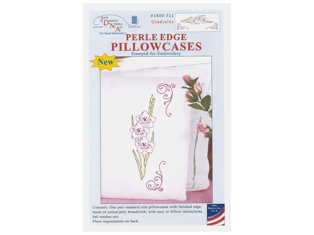 Jack Dempsey Pillowcase Perle Edge White Gladiolus
