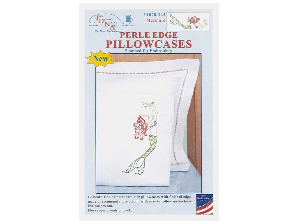 Jack Dempsey Pillowcase Perle Edge White Mermaid