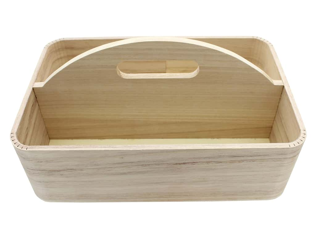 Sierra Pacific Crafts Wood Tray With Center Handle 11.75 in. x 7.75 in. x 3.75 in. Natural
