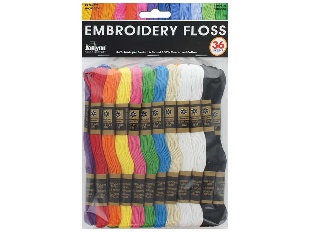 Janlynn Embroidery Floss Pack 36 pc. Primary
