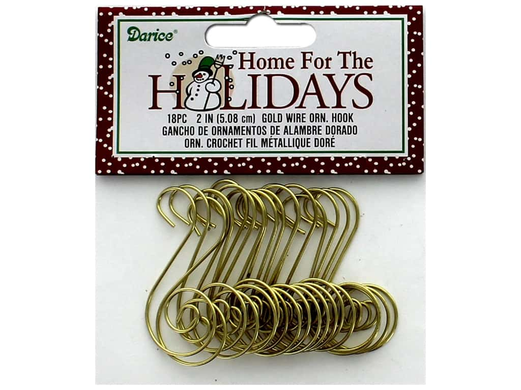 Darice Decor Holiday Ornament Hook 2 in. Gold Wire 18 pc