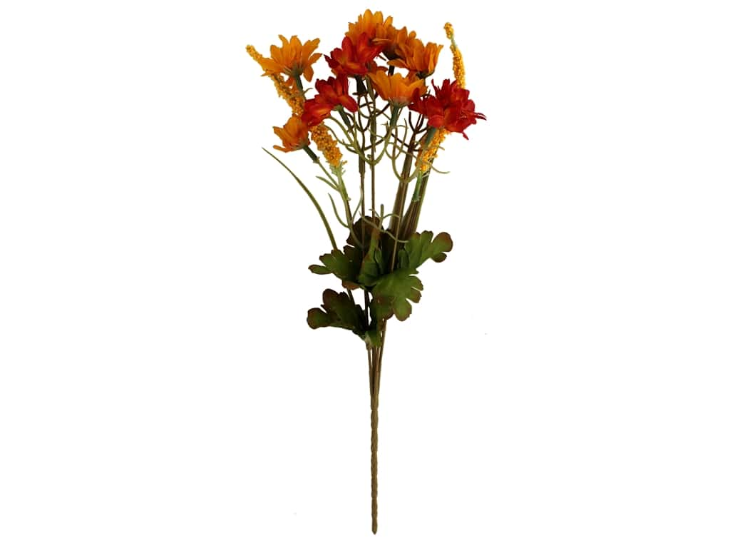 Darice Decor Fall Bush 6 in. x 14 in. Mini Sunflower Yellow/Orange