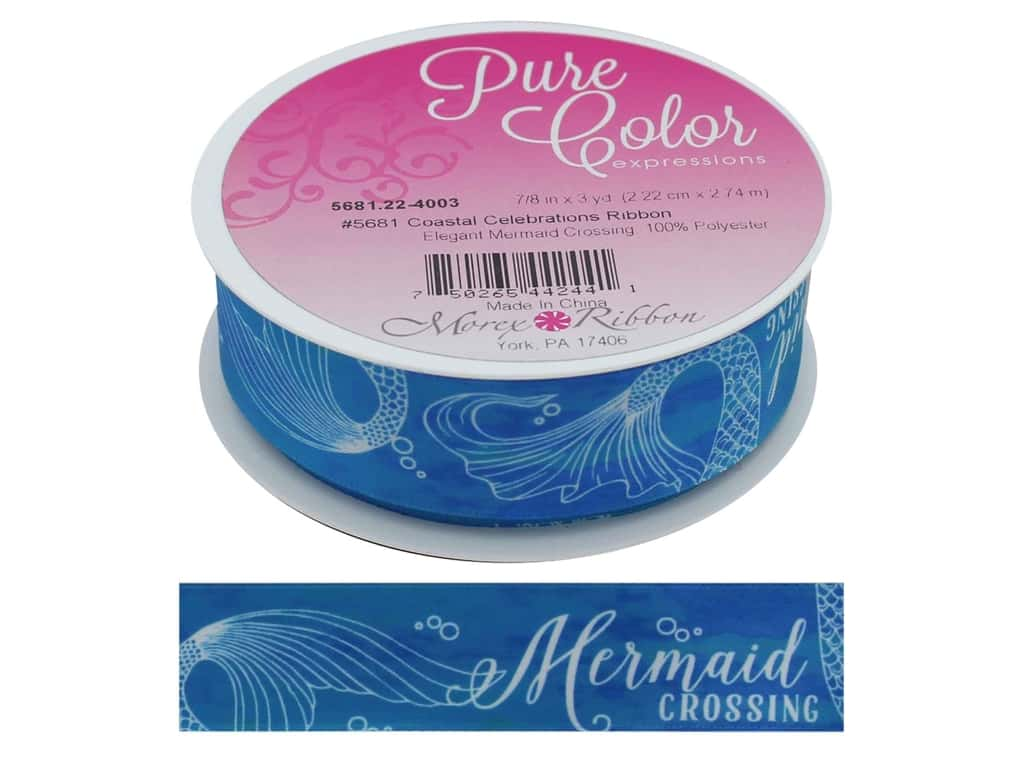 Morex Ribbon Coastal Celebration 7/8 in. x 3 yd Elegant Mermaid Crossing
