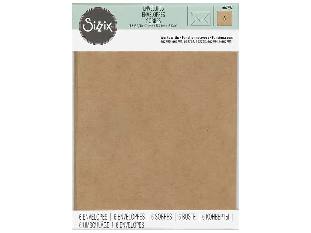 Sizzix Paper Envelopes A7 6 pc. Kraft