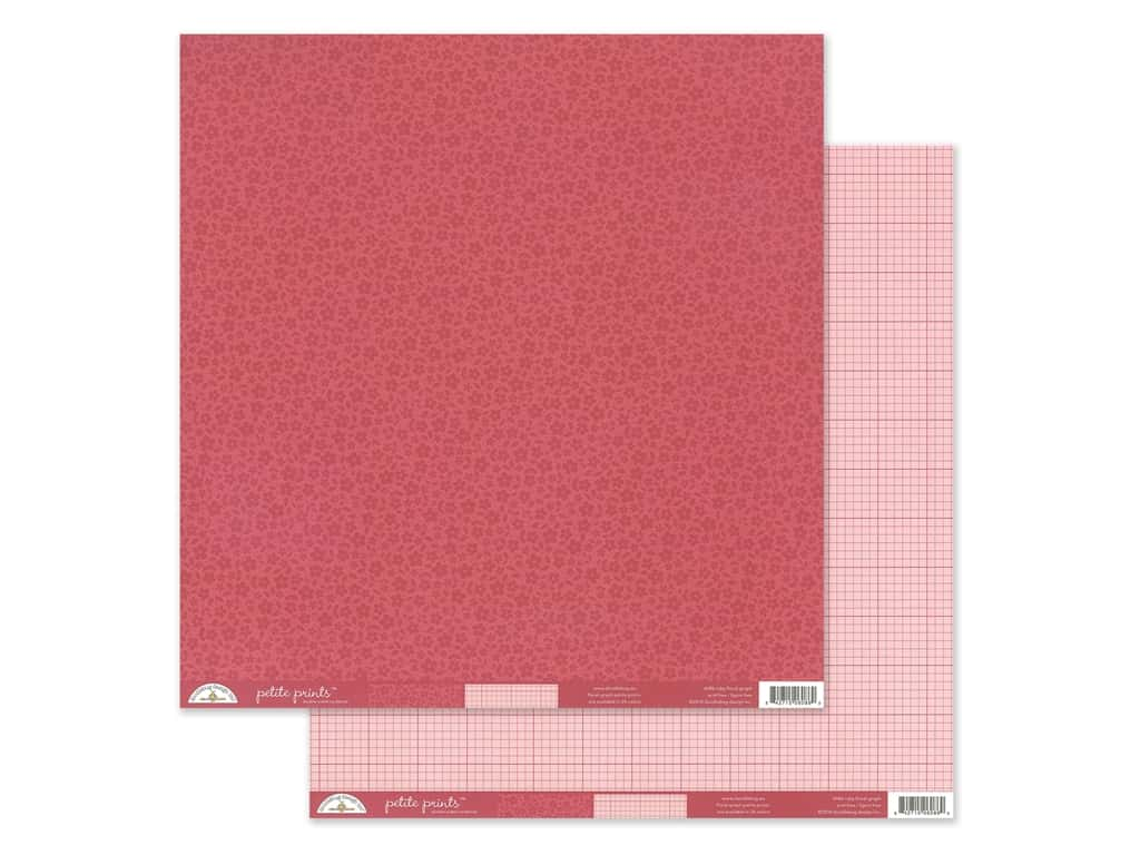 Doodlebug Collection Petite Prints Paper 12 in. x 12 in. Floral/Graph Ruby (25 pieces)