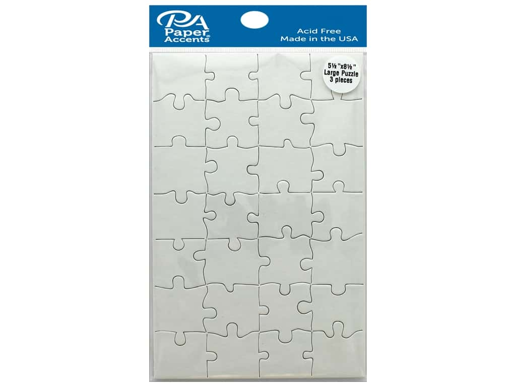 Paper Accents Chip Shape Large Puzzle 5.5 in. x 8.5 in. White 3 pc