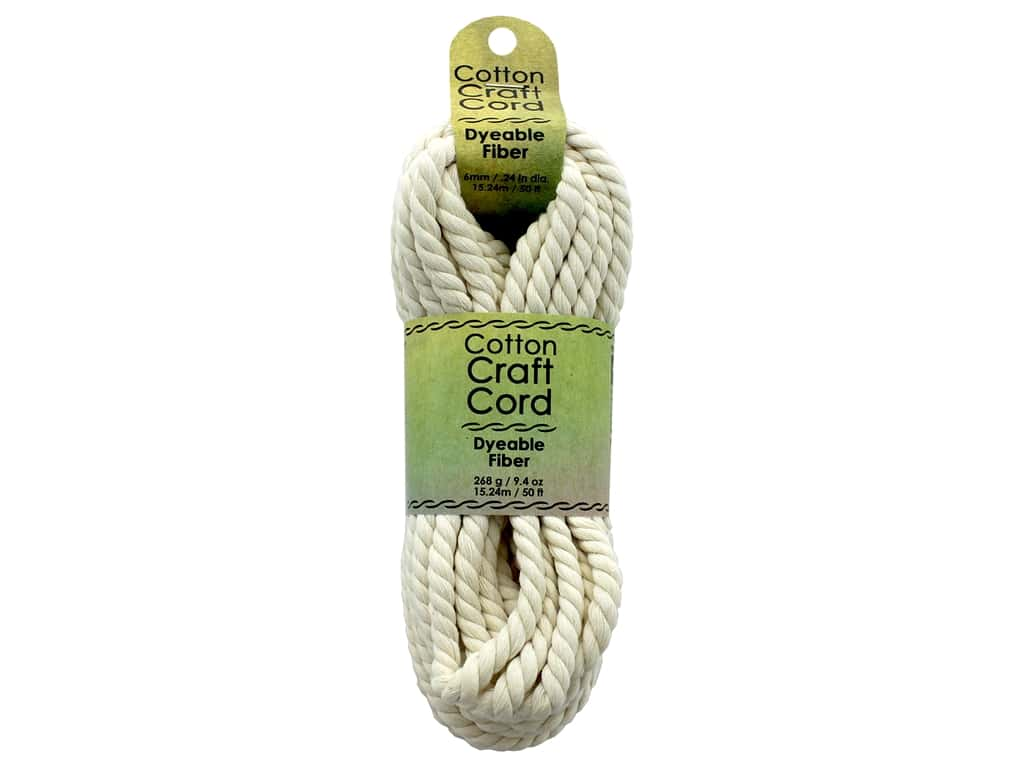 Pepperell Craft Rope Cotton Cord 6 mm (1/4 in.) x  50 ft. Natural
