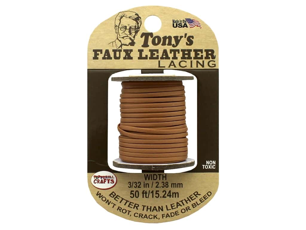 Pepperell Faux Leather Lacing 3/32 in. x  50' ft.Tan