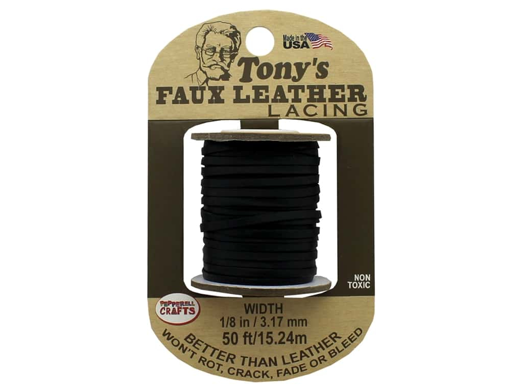 Pepperell Faux Leather Lacing 1/8 in. x  50 ft. Black