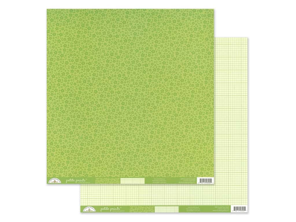 Doodlebug Collection Petite Prints Paper 12 in. x 12 in. Floral/Graph Limeade (25 pieces)