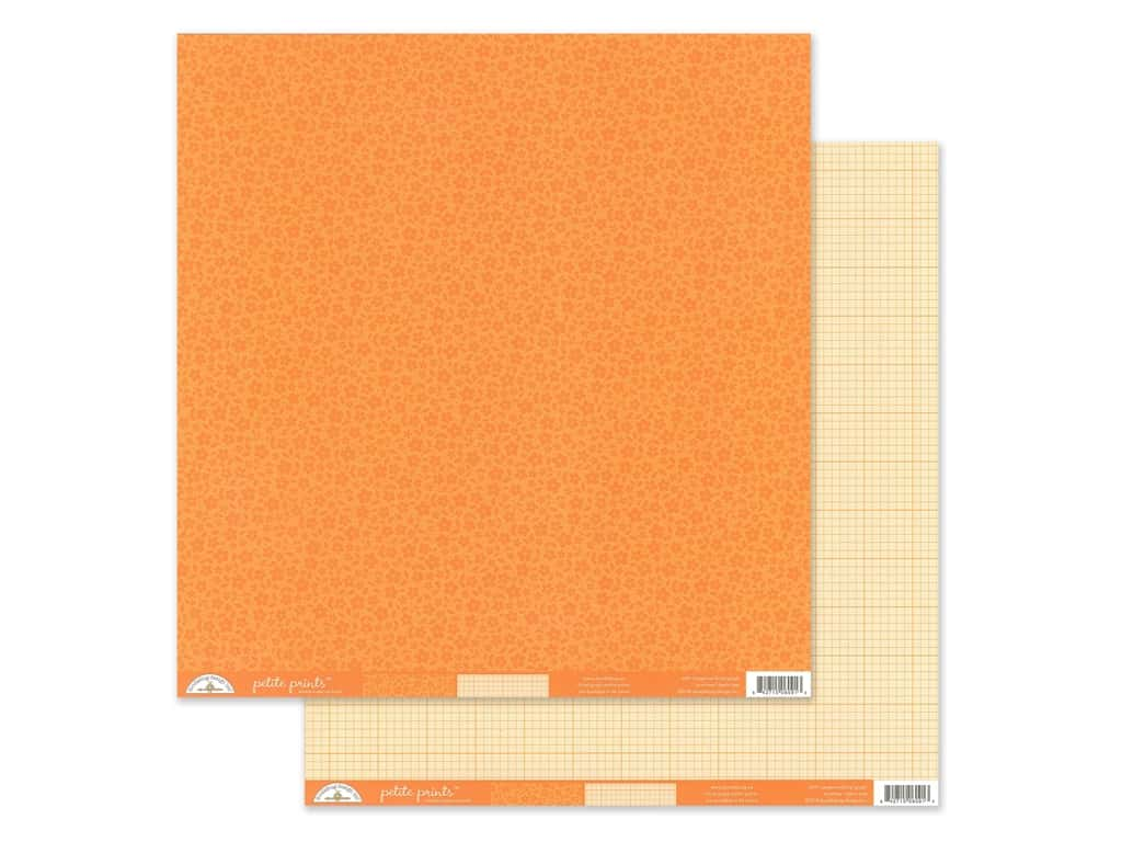 Doodlebug Collection Petite Prints Paper 12 in. x 12 in. Floral/Graph Tangerine (25 pieces)