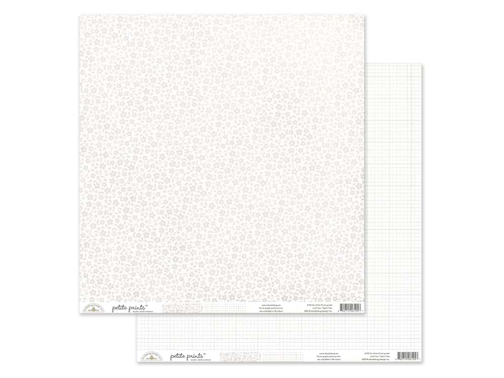 Doodlebug Collection Petite Prints Paper 12 in. x 12 in. Floral/Graph Lily White (25 pieces)
