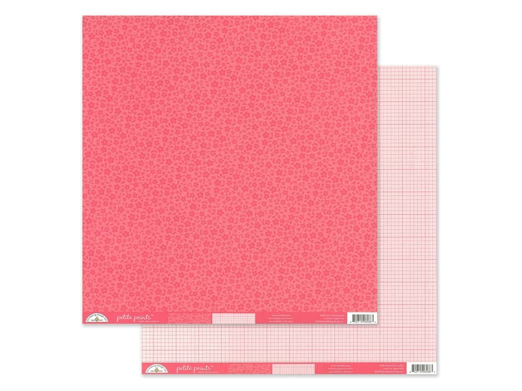 Doodlebug Collection Petite Prints Paper 12 in. x 12 in. Floral/Graph Cherry (25 pieces)
