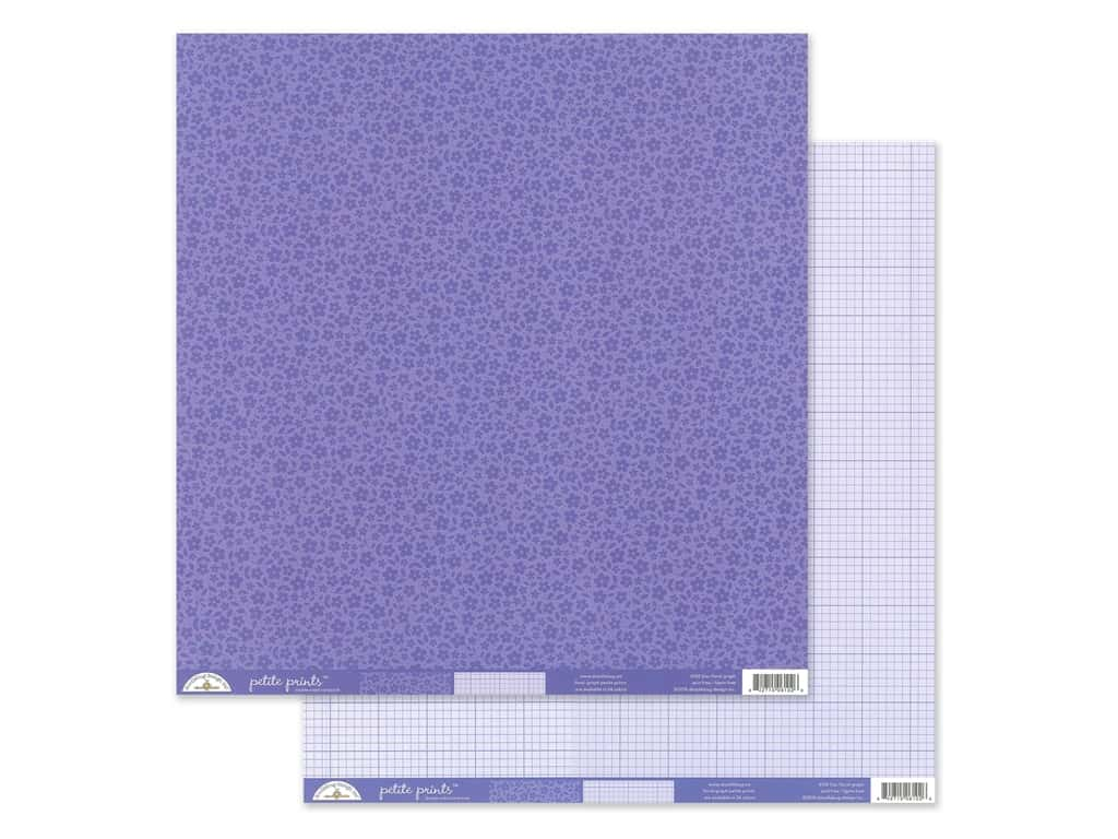 Doodlebug Collection Petite Prints Paper 12 in. x 12 in. Floral/Graph Lilac (25 pieces)
