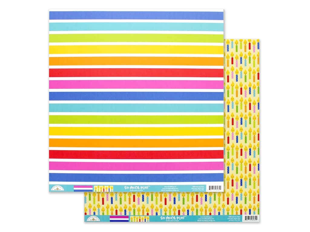 Doodlebug Collection So Much Pun Paper 12 in. x 12 in. Just My Stripe (25 pieces)