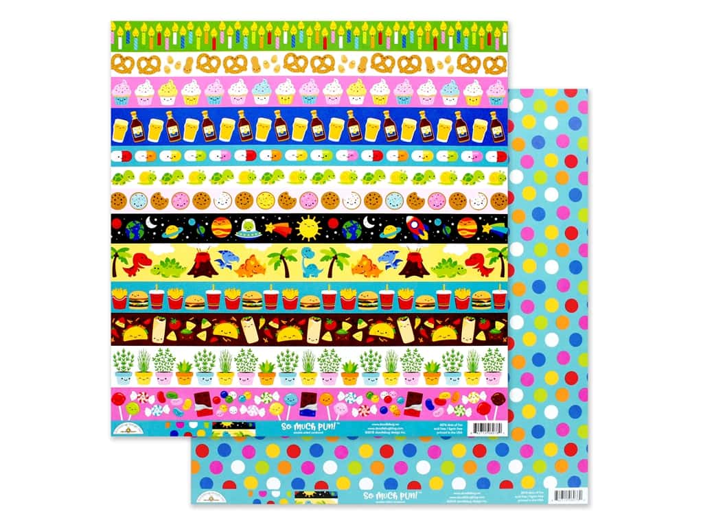 Doodlebug Collection So Much Pun Paper 12 in. x 12 in. Dots Of Fun (25 pieces)