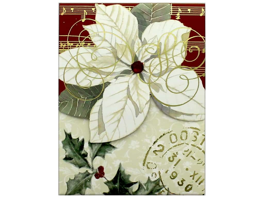 Punch Studio Note Pad Pocket Poinsettia White