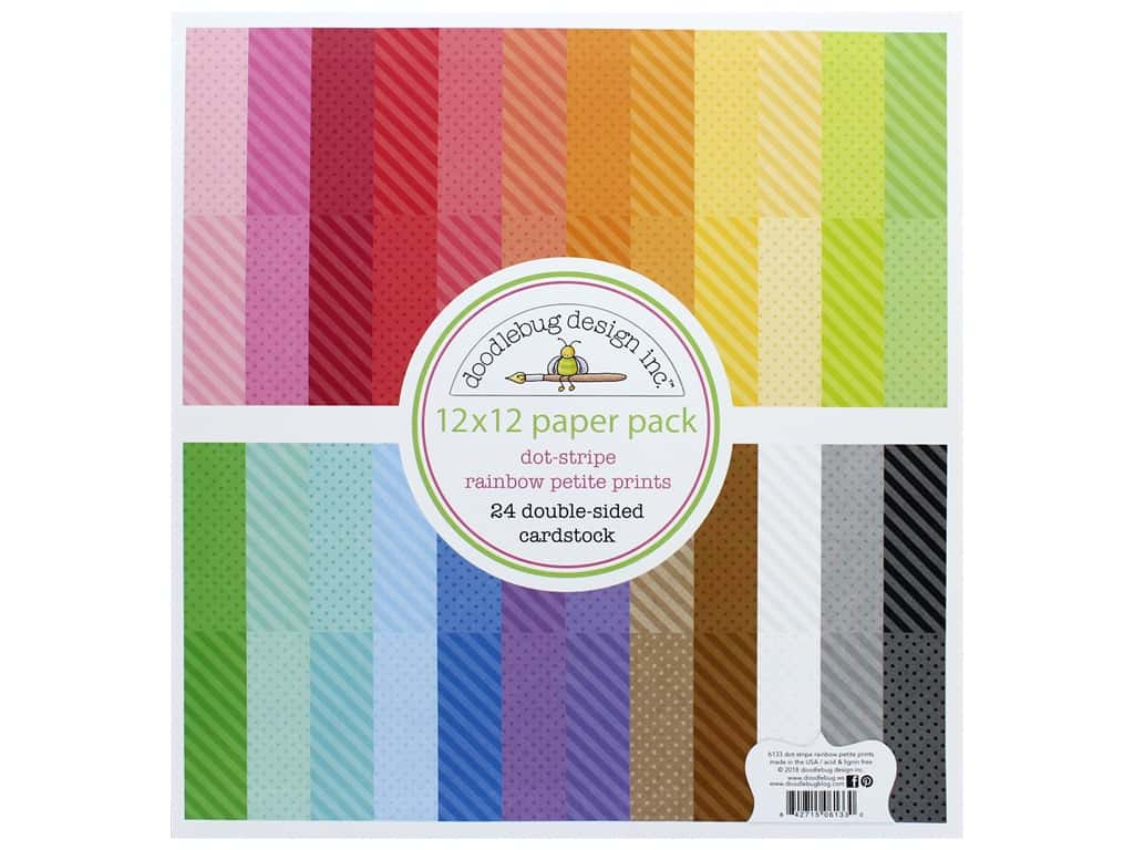 Doodlebug Collection Petite Prints Paper Pack 12 in. x 12 in. Dot/Stripe Rainbow