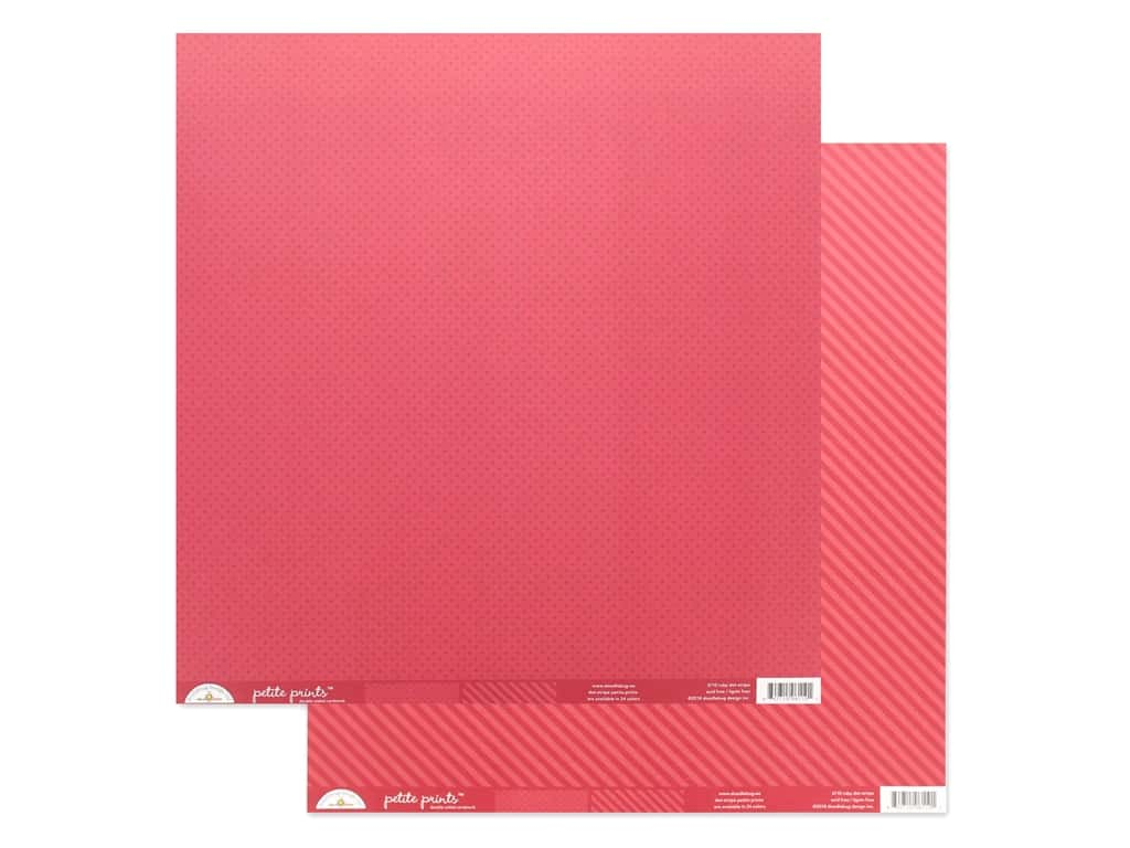 Doodlebug Collection Petite Prints Paper 12 in. x 12 in. Dot/Stripe Ruby (25 pieces)