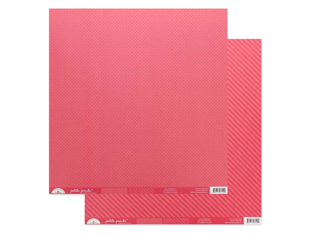 Doodlebug Collection Petite Prints Paper 12 in. x 12 in. Dot/Stripe Cherry (25 pieces)