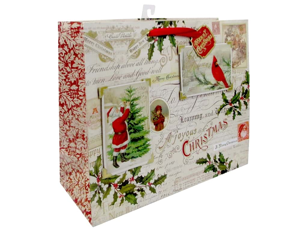 Punch Studio Gift Bag Postcards & Holly Large Horizontal