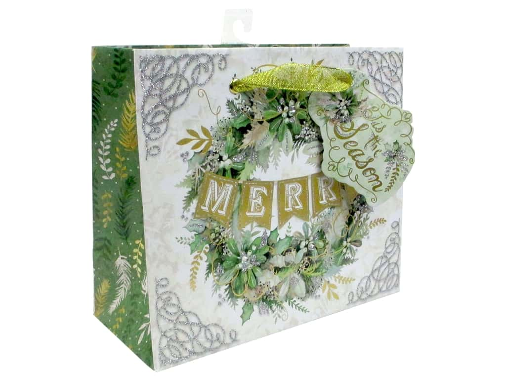 Punch Studio Gift Bag Winter Greens Medium Horizontal