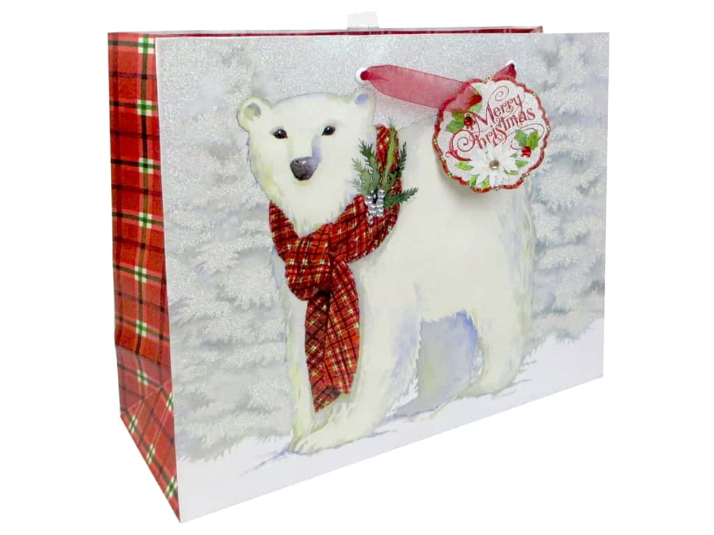 Punch Studio Gift Bag Snowy Friends Large Horizontal