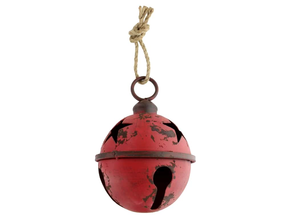 Sierra Pacific Crafts Metal Jingle Bell 7 in.  Rustic Red