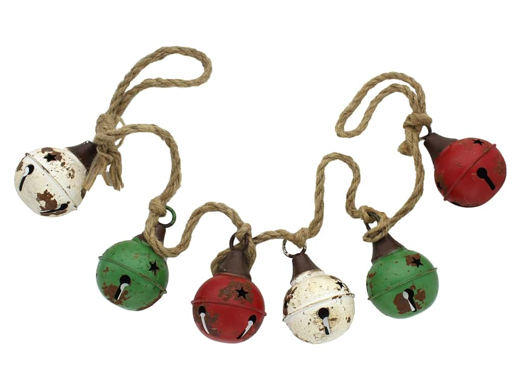 Sierra Pacific Crafts Garland Metal Jingle Bell 3.5 in. x 54 in. Green/Red/White