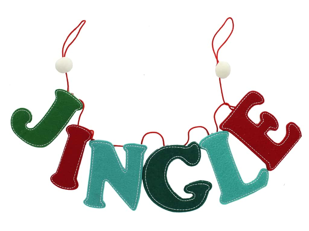 Sierra Pacific Crafts Felt Garland 30 in. Jingle Green/Red