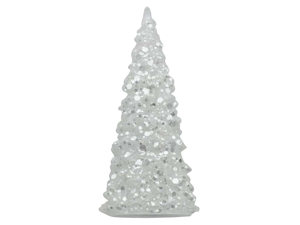 Sierra Pacific Crafts Light Up Tabletop 7 in. Tree with Glitter
