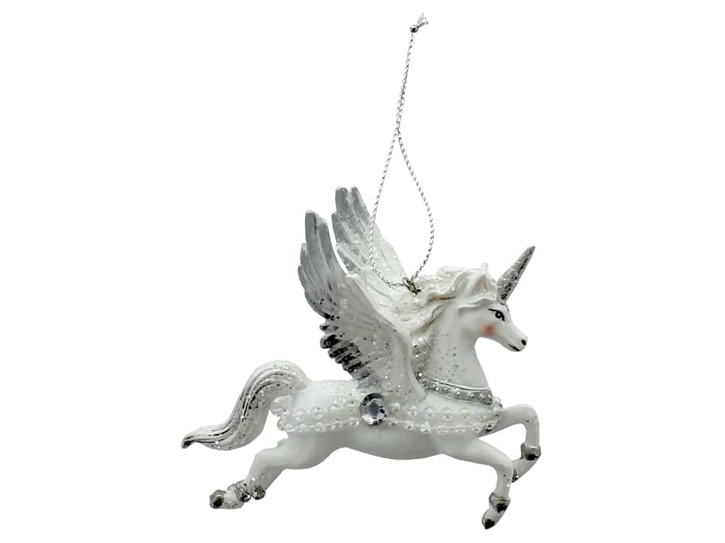 Sierra Pacific Crafts Decor Ornament Flying Unicorn 3.63 in.  White (3 pieces)