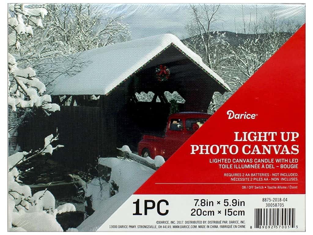 Darice Light Up Canvas LED 7.8 in. x 5.9 in. Winter Truck