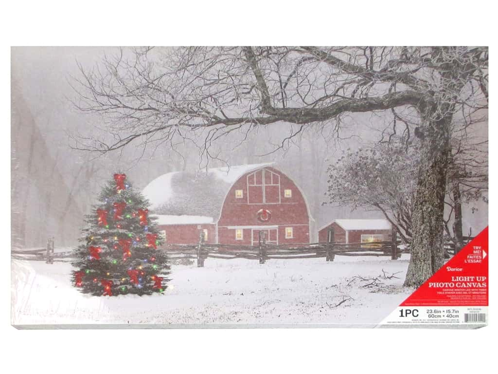 Darice Light Up Canvas LED/TimerWinter Barn