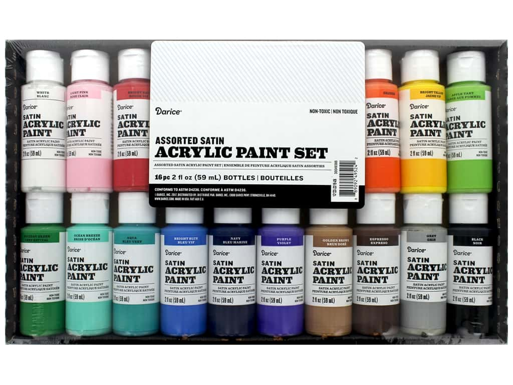 Darice Paint Acrylic 2 oz Satin 16 pc
