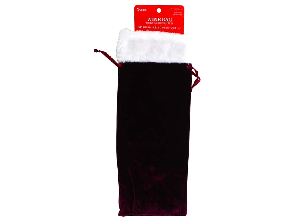 Darice Decor Velvet Wine Bag 5.5 in. x 14.5 in. Burgundy