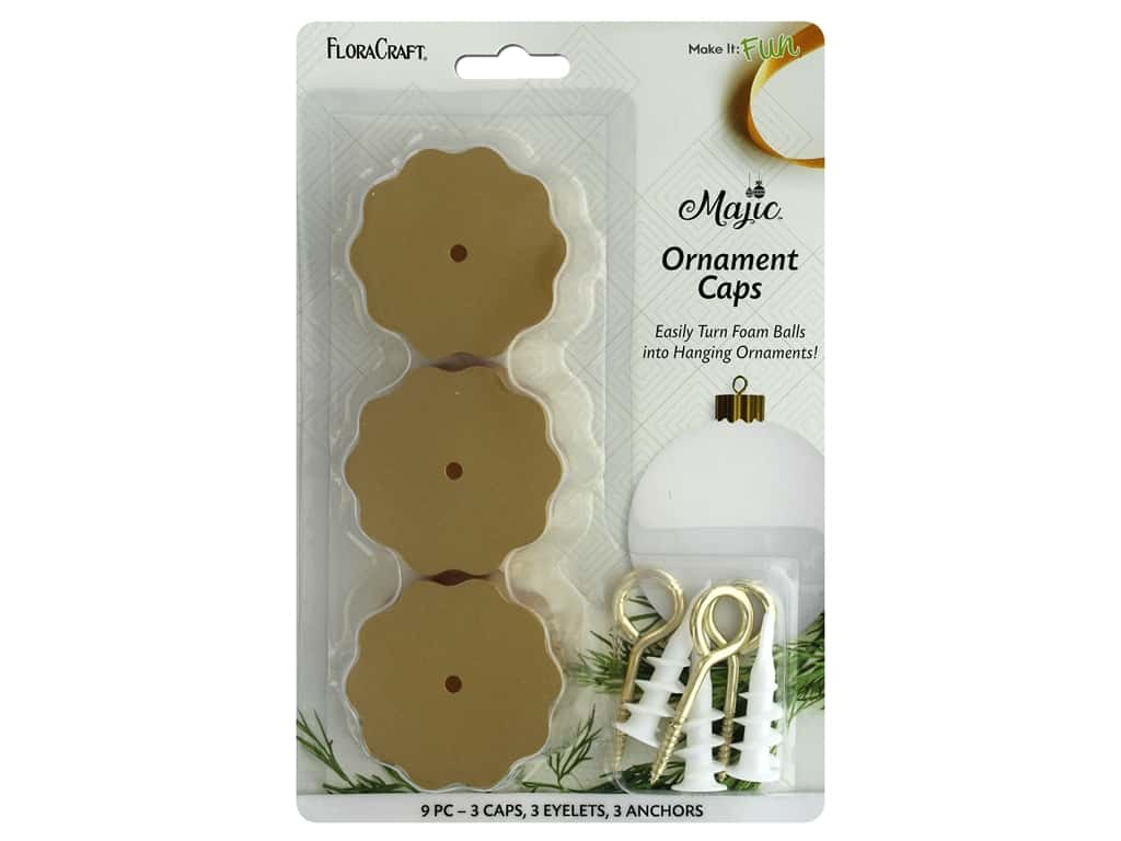 FloraCraft Foam Accessories Majic Ornament Caps Gold 3 pc