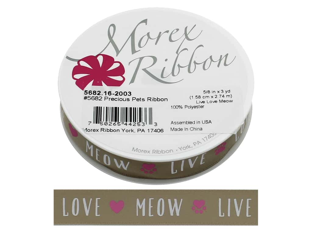 Morex Ribbon Precious Pets 5/8 in. x 3 yd Live Love Meow