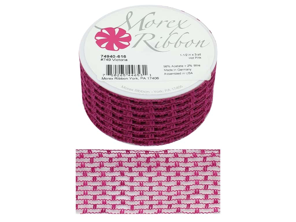 Morex Ribbon Wire Victoria 1.5 in. x 3 yd Hot Pink