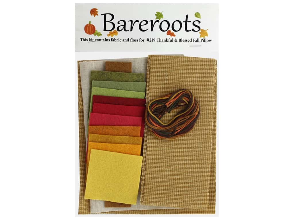 Bareroots Kit Fabric & Floss Kit Thankful & Blessed Pillow