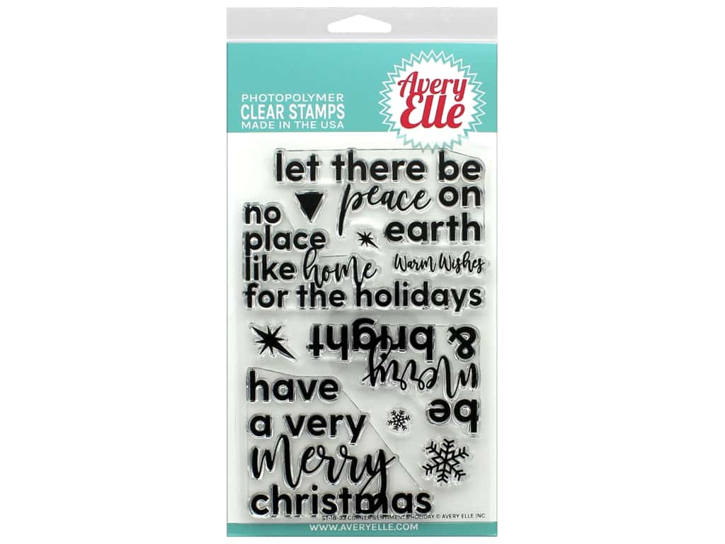 Avery Elle Clear Stamp Corner Sentiments-Holiday