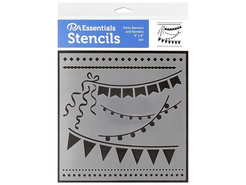 PA Essentials Stencil 6 x 6 in. Party Banners & Borders