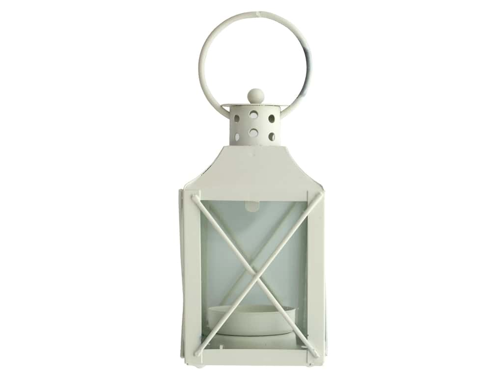 Darice Light Lantern Metal 2.5 in. x 4.7 in. x 2.5 in. Square White