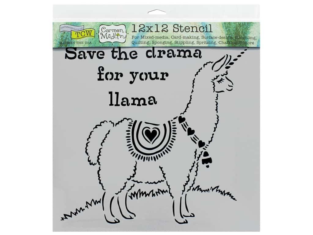 The Crafter's Workshop Stencil 12 in. x 12 in. Drama Llama