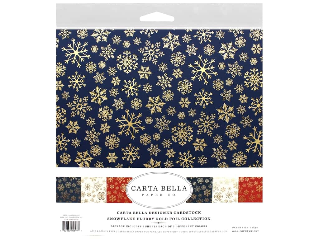 Carta Bella Foil Snowflake Flurry Kit 12 in. x 12 in. Gold