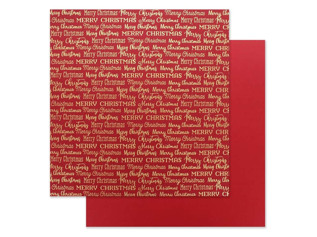 Carta Bella Foil Merry Christmas 12 in. x 12 in. Red (25 pieces)